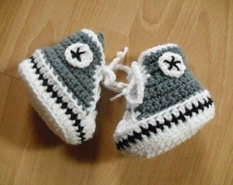 Baby shoes in gray/white, 8.5-9 cm, size 62/68