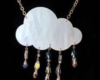 Laser Cut Rain Cloud Necklace w Swarovski Drops