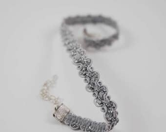 Silver shimmer lace choker