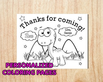 1DAY SALE! Dinosaur Birthday Party Coloring pages / Personalized / Printable /Party Activity Pages / Digital / PDF