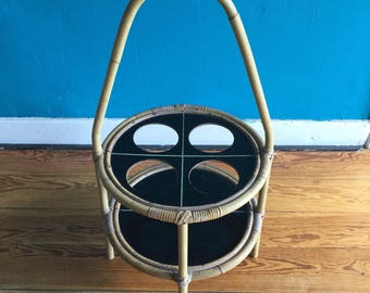 Rattan bamboo coffee table, bar table, Cup holders, 50s, 60s, midcentury