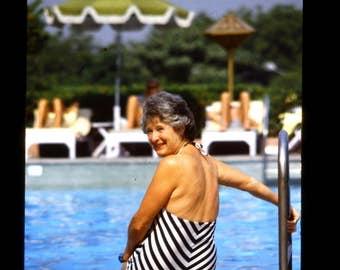 35mm Slide Vintage sultry swimsuit photo of older lady 1980s