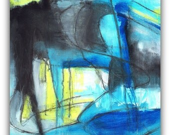 Blue Ruin, Abstract acrylic painting on canvas
