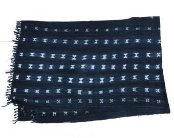 Vintage Indigo Mudcloth Fabric with Fringes