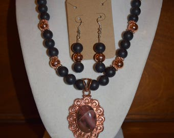 Onyx Matte Beaded Necklace with Copper Pendant & Matching Earrings