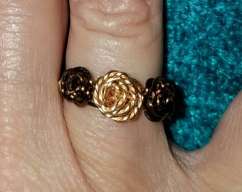 Gold and brass rose ring