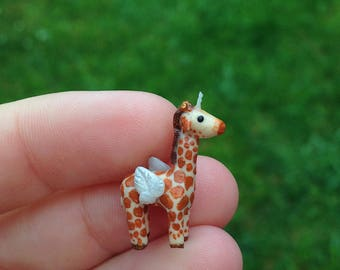 OOAK mini angimal giraffe with wings and a horn / unique handmade miniature figure / sculpture