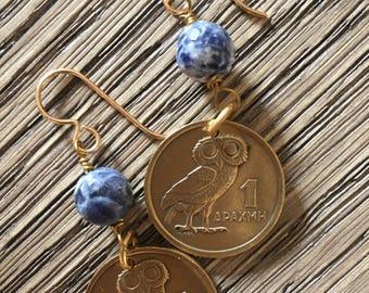 Greek coin earrings, Drachma earrings, owl earrings