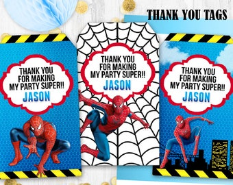 Spiderman Gift tags Birthday tags Superhero birthday tags Thank you tags