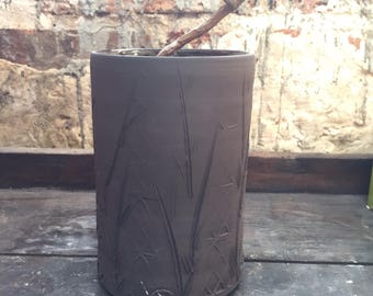Big black stoneware vase