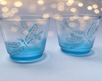Blue Dragonfly Candle Holders