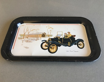 1910 Ford Torpedo, Tin Tray, Serving Tray, Snack Tray, Vintage Car Motif, Antique Automobile,