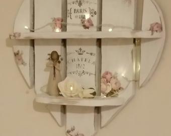 Vintage Rose Shabby Chic Heart Shelves