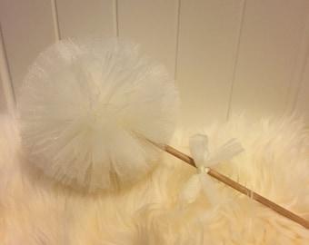 Pom Pom wand, flower girl pompom wand, princess wand, wand, tulle pompom,