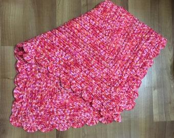 Crocheted red multicoloured pram/baby blanket