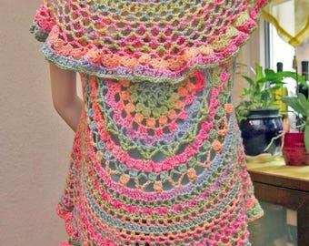 Homemade crochet Lotus mandala circular vest