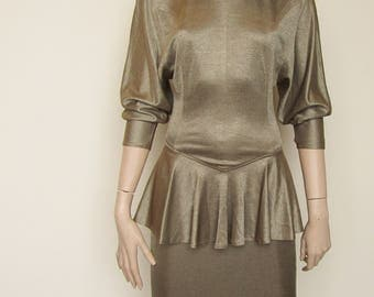 Gold Bodycon Peplum Dress - Size 8-10