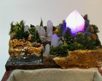 Miniature Landscape Tray with Illuminated Crystals