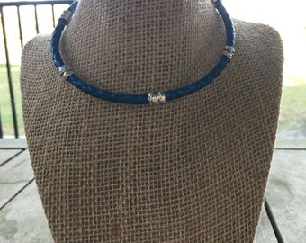 Metallic blue braided leather choker with silver details and magnetic clasp