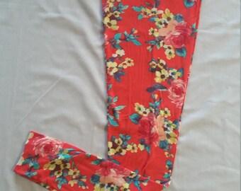 Women's Legging Large, coral, floral