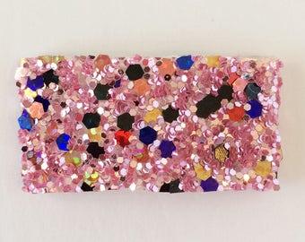 Twinkled pink multi glitter snap clip OR alligator clip
