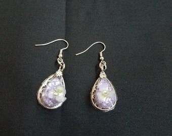 Purple Teardrop Earrings with a Flower//birthday//present//gift//anniversaries//spring//flower