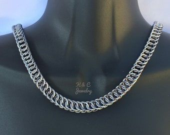 Gunmetal Chainmaille Necklace, Half Persian Weave
