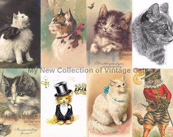 Art Project Vintage Cats Collection Over 100 images for Prints Cards Mixed Media Decoupage Collages Invites Transfers and more...