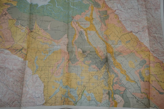 1903 Large California Map Antique Map Santa Clara Map