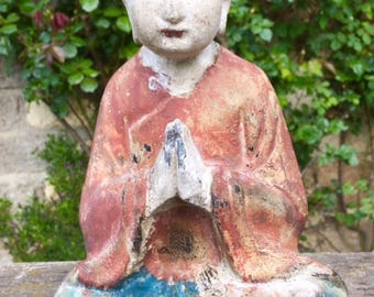 Chinese Vintage Old Carved Wooden Buddhist Monk Statue from The Enlightening Tree