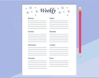 Weekly Planner/ Organized Week/ Week Plan of Action