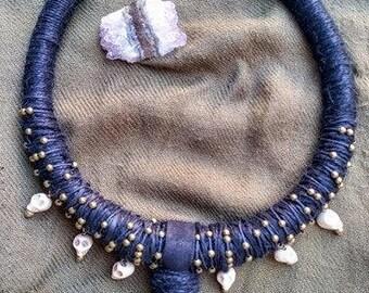 Shamanic drumbeats •hemp cord• necklace