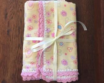 Crochet Edge Flannelette blanket/snuggle blanket