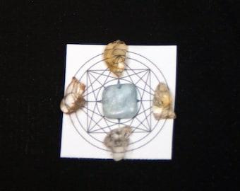 "Pocket Protectors - Mini Crystal Grid -ANXIETY - Citrine, Aquamarine - 1""x1"" - Sacred G - Healing"