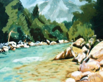 Painting in acrylic ' River Sava in Slovenia '