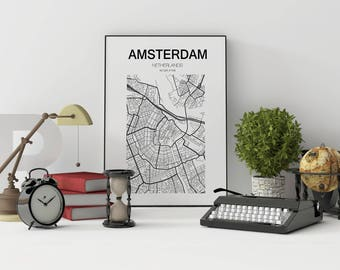 Amsterdam Map Print, Netherlands, Amsterdam City, Holland Print Amsterdam Kaart, Amsterdam Map Poster, Amsterdam, Black and White Map