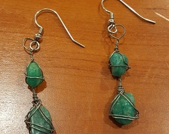 Wire Wrapped Amazonite Earrings