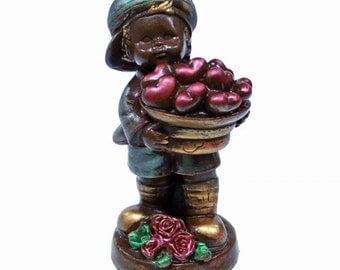 Chocolate figure Boy with a basket of hearts/ Handmade Gift/ for Her/ for Children