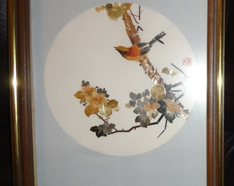 Multicolor Chinese Wheat Straw Collage ~ Framed