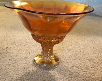 Carnival Glass Pedestal Bowl 2 piece