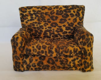 1/12 scale Furniture - Art Deco couch, leopard-skin fabric, hand-made