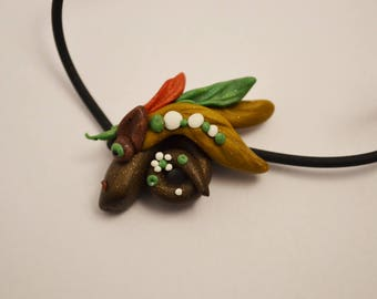 Dragon hand-molded polymer clay necklace