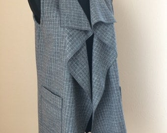 Long grey vest, Long cardigan, sleeveless jacket, Warm wool, Warm long vest