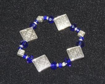Silver Diamond and Blue Stretch Bracelet