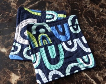 Set of 2 Abstract Blue Coasters