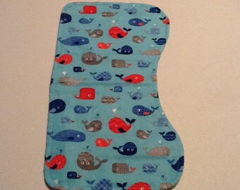 Baby Burp Cloth, whales