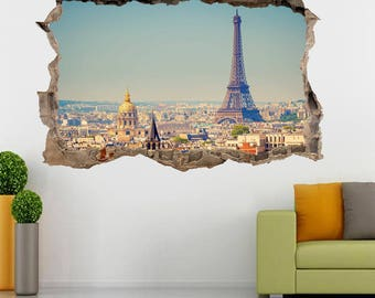 Eiffel Tower Paris Smashed Wall 3D Decal Graphic Wall Sticker H174