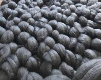 Gunmetal Grey Vegan Chunky Blanket