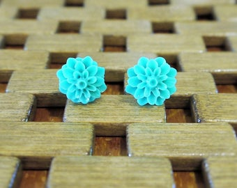 Green Dahlia Flower Stud Earrings