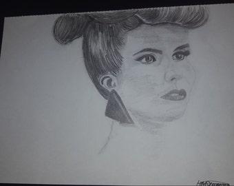 Pencil sketch of Paloma Faith